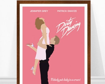 Dirty Dancing Minimalist Poster, Dirty Dancing Poster, Dirt Dancing Print, Nobody Puts Baby in a Corner Print, Minimalist Movie Poster, Pink