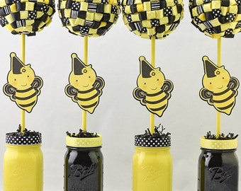 Bumblebee Party Decor Ribbon Topiary Centerpieces Set Of Four 4 Bumble Bee Decorations