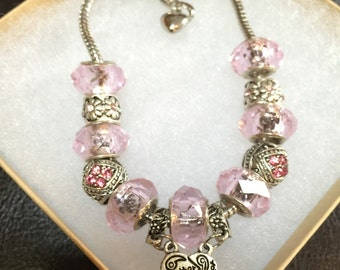 Mother - Daughter Pink European Charm Bracelets (set of 2 matching bracelets) - mothers day gift, birthday gift