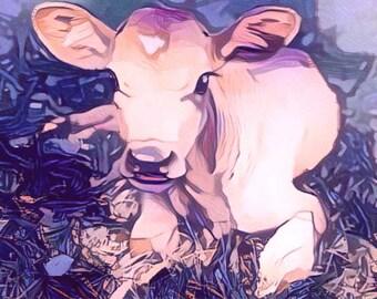 ACEO New Life - Calf cow ATC blue