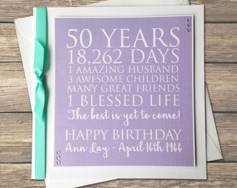 Handmade Personalised Milestone Birthday Card - 21st - 30th - 40th - 50th - 60th - 70th - 80th - 90th