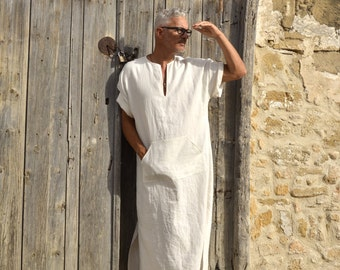 Chalk white linen loungewear. Soft wrinkled kaftan with pocket. Relaxed short sleeved tunic.