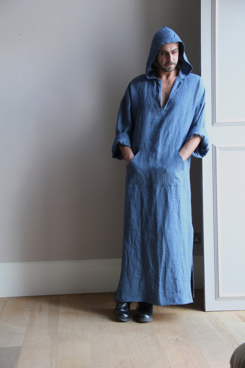 Denim Blue Pure Linen Men S Kaftan Hooded Tunic Winter