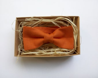 Burnt Orange Bow Tie, Orange mens bow tie, orange linen bowtie, Boys bow tie, bow ties for men, orange mens necktie, orange toddlers bowtie
