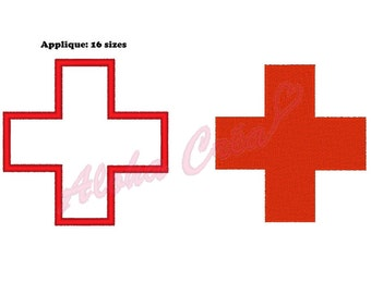 Machine Embroidery Design Red cross Pack (16 sizes) - Instant Digital Download