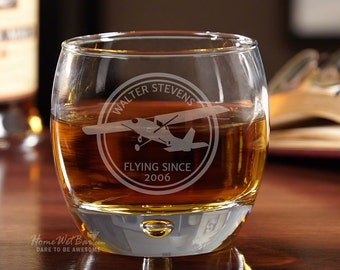 Uptown Round Whiskey Glass - Aviator Design - Personalzed Laser Engraving with Name and Year -  Weighted Base with Single Bubble Detailing