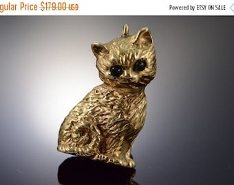 1 Day Sale 10K Gold Shell Vintage Creepy Black /Green Eyed 3D Kitten Charm/Pendant