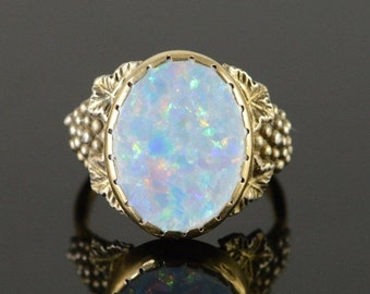 1 Day Sale 14K Vintage 1.00 CT Oval Enhanced Opal Grape Ring Size 6.25 Yellow Gold
