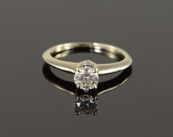14K 0.50 CT Diamond Solitaire Engagement Ring Size 4.75 White Gold