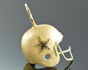 14K Dallas Cowboys Football Helmet Charm/Pendant Yellow Gold - EL 8979