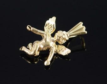 14K 3D Angel Cherub Charm/Pendant Yellow Gold