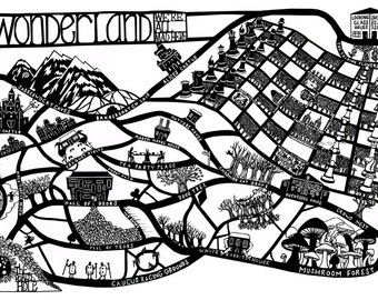 Alice in Wonderland Map Print