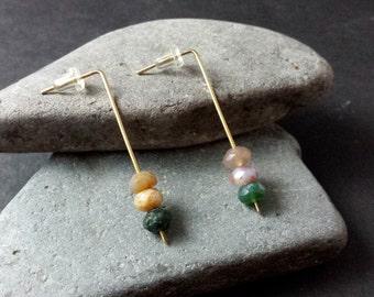 Agate | Brass | Earrings