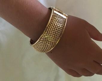 Sara Coventry Gold Mesh cuff bracelet