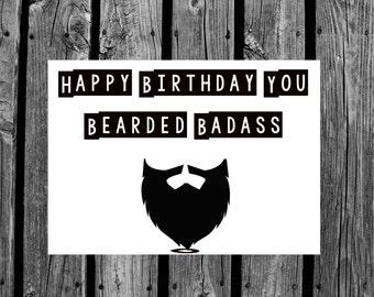 Happy birthday funny beard card, gift for him, gift for friend/dad, hipster art