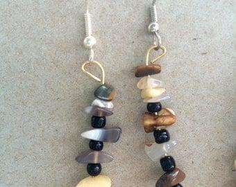 Stacked Rock Earrings, Chandelier stone Earrings