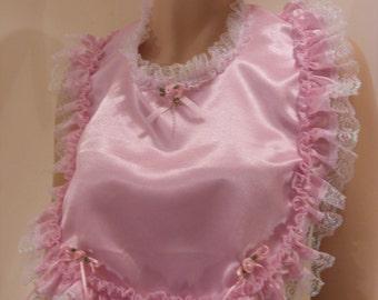 sissy adult baby pink satin baby bib, cosplay fancydress