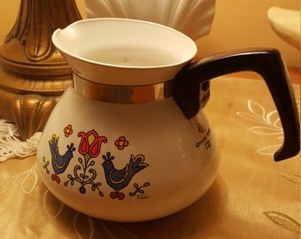 Vintage 1975 Corningware / Corning Country Festival - Bluebird - Friendship Coffee Pot / Carafe