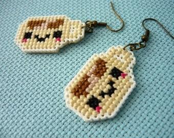 Cross stitch earrings - kawaii cup, earrings on plastic canvas, embroidered earrings