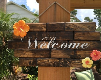 Tropical Hibiscus Wood Block Welcome Sign