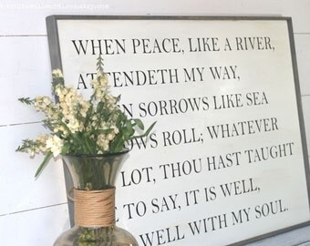 It is well with my soul wood sign, Christian hymn sign, It is well wood sign, scripture sign, hymn sign, faith sign, farmhouse style sign