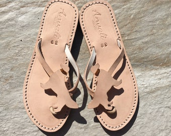 Golden retriever sandals handmade leather flip flops dog gift