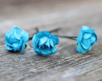 Blue Flower, Hair Picks, Floral Wedding Bobby Pins, Paper Flower, Hair Pin, Bridal Hair Accessories, Bridesmaid Hair Pins, Wedding Hair Pins