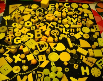 210 Pieces Yellow Objects Shapes Alphabet Letters Doodads Toys Mixed Media Altered Art Assemblage