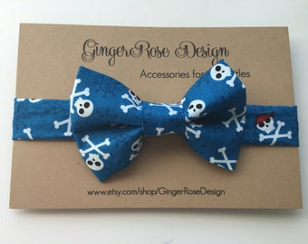 Pirate Bow Tie; Skull and Crossbones Bow Tie; Boy's Bow Tie; Toddler Bow Tie; Adjustable Bow Tie; Baby Bow Tie; Velcro Bow Tie
