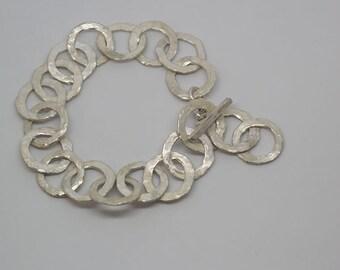 hammered matte silver bracelet
