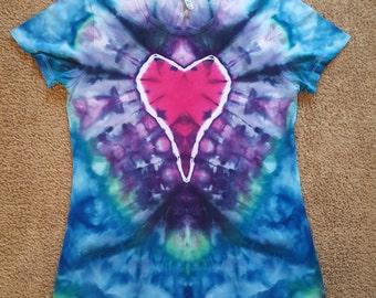Ladies Large Tie Dye Heart
