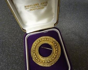 Lovely Highland Arts Large Gold Metal Celtic Brooch