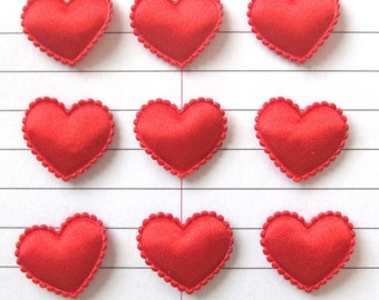 SET of 20 RED Valentine's Satin Heart Padded Appliques/ hair bow/ scrap booking/diy crafts/cardmaking
