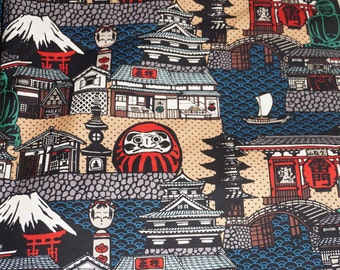 Japanese Temple Cotton Fabric Duck Cosmo  Fabric Sportswear Imported BFab