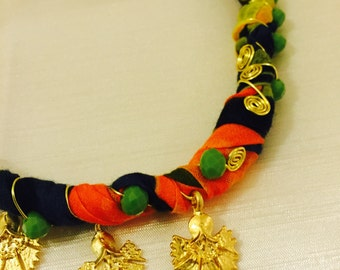 Necklace , handmade,colorful thin cotton