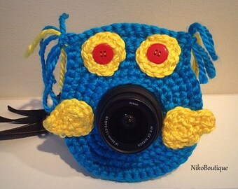 Crochet owl lens critter, camera buddies, camera lens buddy, toys, photographer helper.