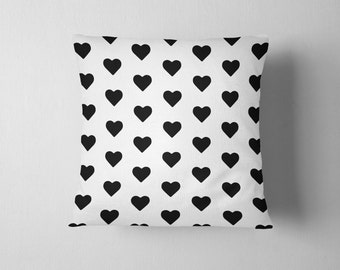 Black and white heart pattern throw pillow