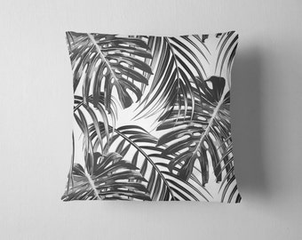 Tropical leaf  black and white throw pillow