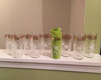 Mid Century Federal Glassware Tumblers Set of 9
