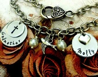 Personalized Godmother Bracelet, Godmother Jewelry, Godmother Gift, Baptism Gift, Gift From Godchild, Confirmation, Godmother Present