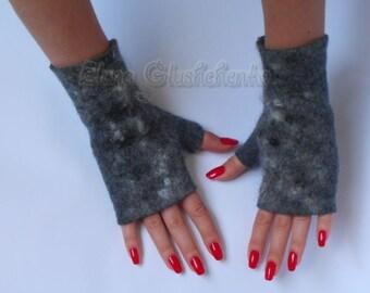 Felted Mittens Felted Fingerless Gloves Wool Mittens Gray Fingerless Gloves Eco Friendly Mittens Felt Mittens Christmas Gift