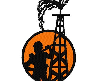 Oil Rig Worker embroidery Design 4x4 hoop