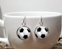 Soccer Ball Earrings - Gift for woman soccer player - Soccer Accessories Jewelry - Soccer girl Gifts