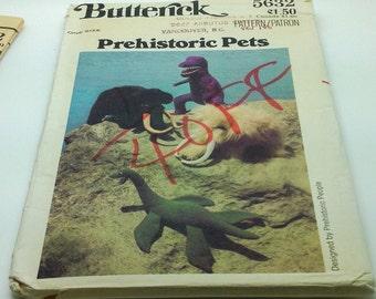 Butterick 5632  Sewing  Pattern Prehistoric Pets Tyrannosaurus Pleisiosaur Mammoth Dinosaurs Stuffed Animals Toy New Uncut