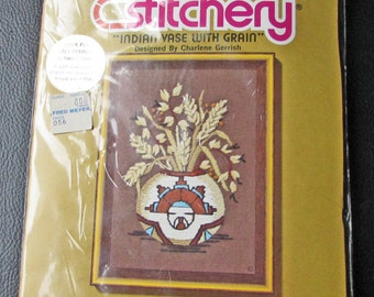 "Jiffy Stitchery Embroidery Kit  Sealed New 289 Indian Vase With Grain Charlene Gerrish  5 x 7 "" Southwest Style Native American"