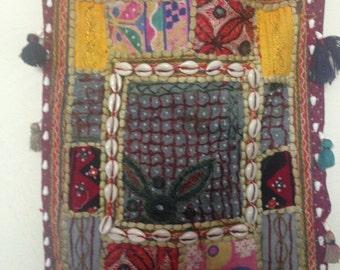 Boho Beaded, Shelled, Mirrored Hippie Bag