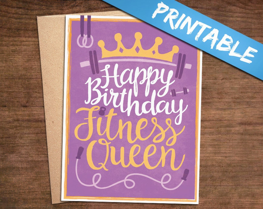 Happy Birthday Fitness Queen Printable Greeting Card Print – Happy Birthday Card for Women