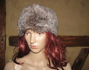 Rabbit fur HAT vintage womens winter CAP cossak