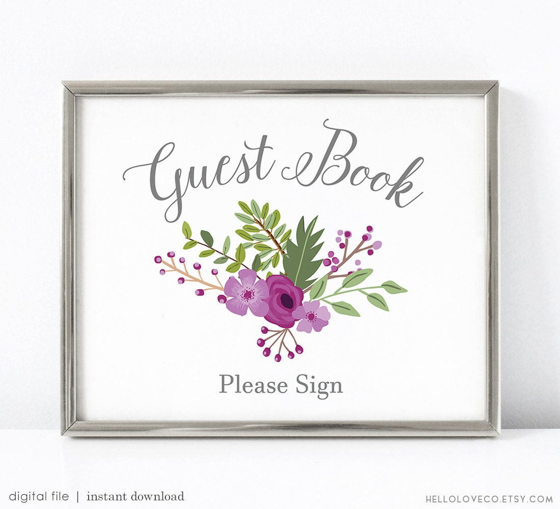 Guest Book Printing: PRINTABLE Guest Book Sign Printable Wedding Guest Book Sign