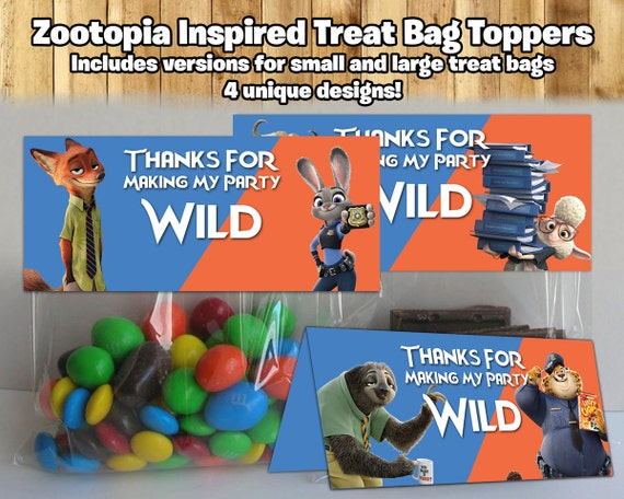Zootopia Inspired Treat Bag Toppers Zootopia Treat Bag Topper Zootopia Birthday Party Candy Bags Zootropolis treat bag toppers party favor